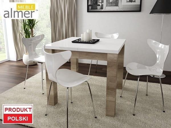 Stół S07 Blat Biały Połysk Rozkładany O 2x50cm Meble Dla Dzieci