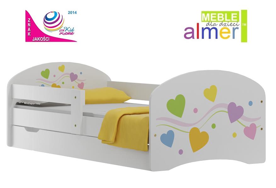 Kolorowe Serca 1 łóżko N20s Szuflada 14070